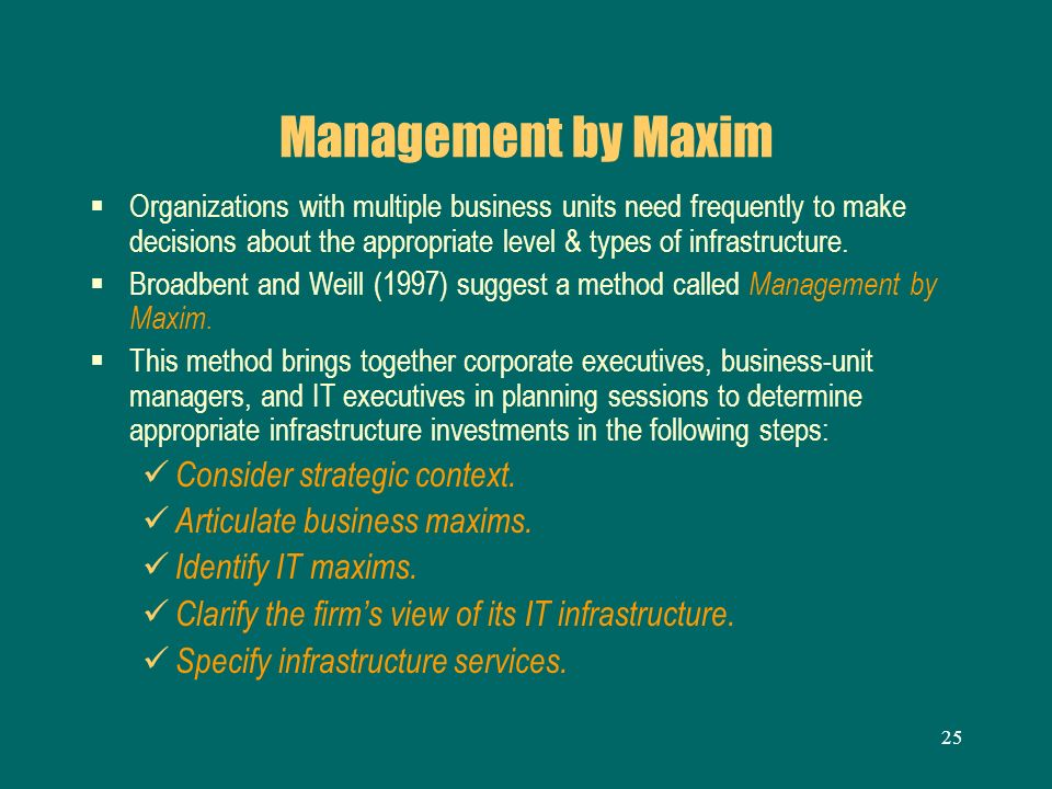 25 Management by Maxim Organizations with multiple business units need frequently to make decisions about the appropriate level & types of infrastruct