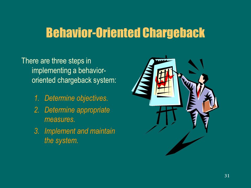 31 Behavior-Oriented Chargeback There are three steps in implementing a behavior- oriented chargeback system: 1. Determine objectives. 2. Determine ap