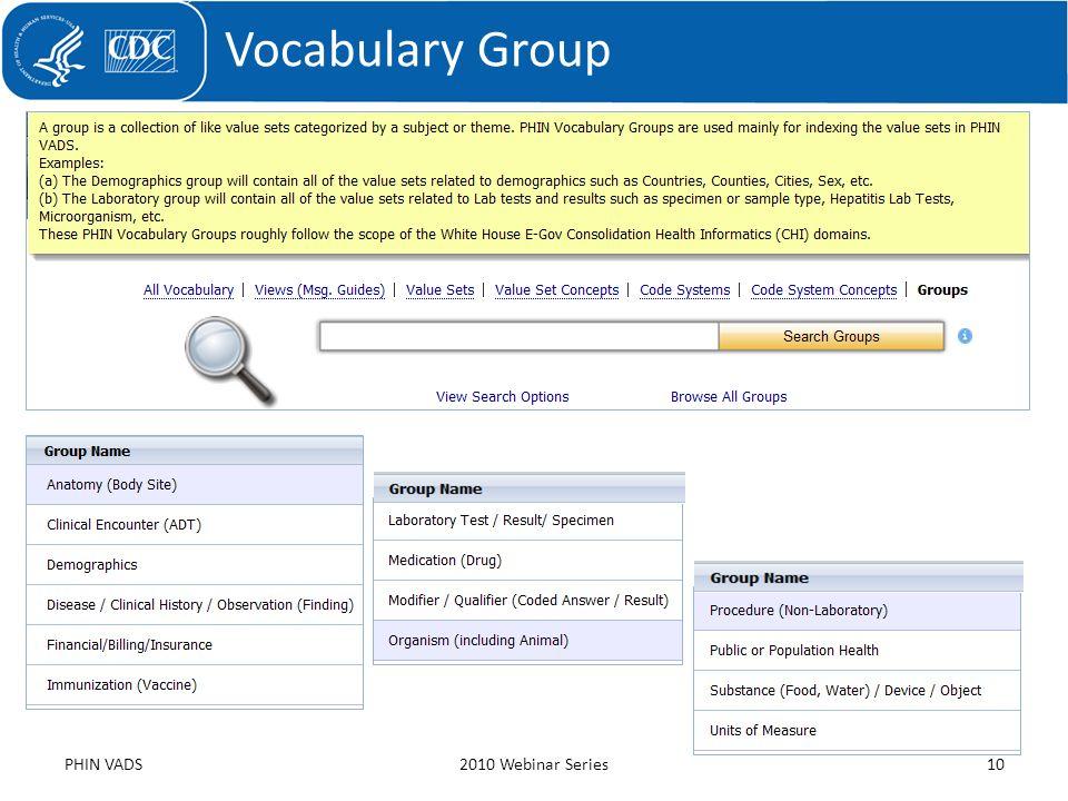 Vocabulary Group PHIN VADS2010 Webinar Series10