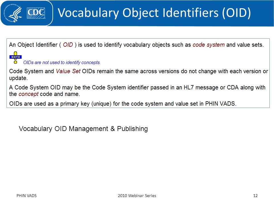 Vocabulary Object Identifiers (OID) PHIN VADS2010 Webinar Series12 Vocabulary OID Management & Publishing