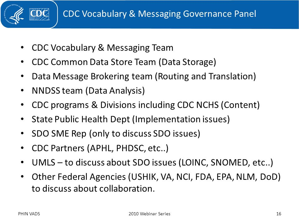 CDC Vocabulary & Messaging Team CDC Common Data Store Team (Data Storage) Data Message Brokering team (Routing and Translation) NNDSS team (Data Analy