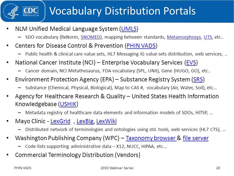NLM Unified Medical Language System (UMLS)UMLS – SDO vocabulary (RxNorm, SNOMED), mapping between standards, Metamorphosys, UTS, etc..SNOMEDMetamorpho