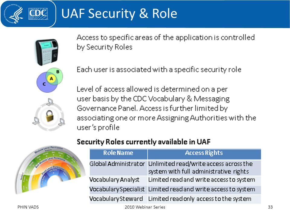 UAF Security & Role PHIN VADS2010 Webinar Series33