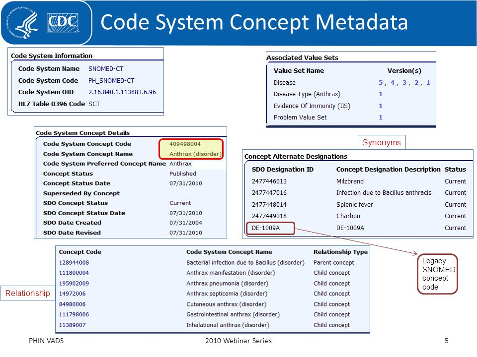 Code System Concept Metadata PHIN VADS2010 Webinar Series5 Synonyms Relationship Legacy SNOMED concept code
