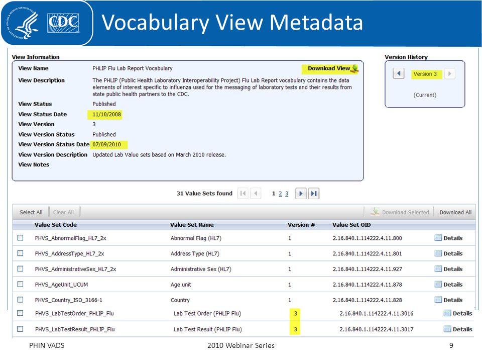 Vocabulary View Metadata PHIN VADS2010 Webinar Series9