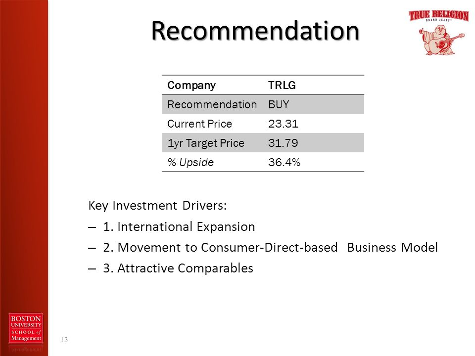 Recommendation Key Investment Drivers: – 1. International Expansion – 2. Movement to Consumer-Direct-based Business Model – 3. Attractive Comparables