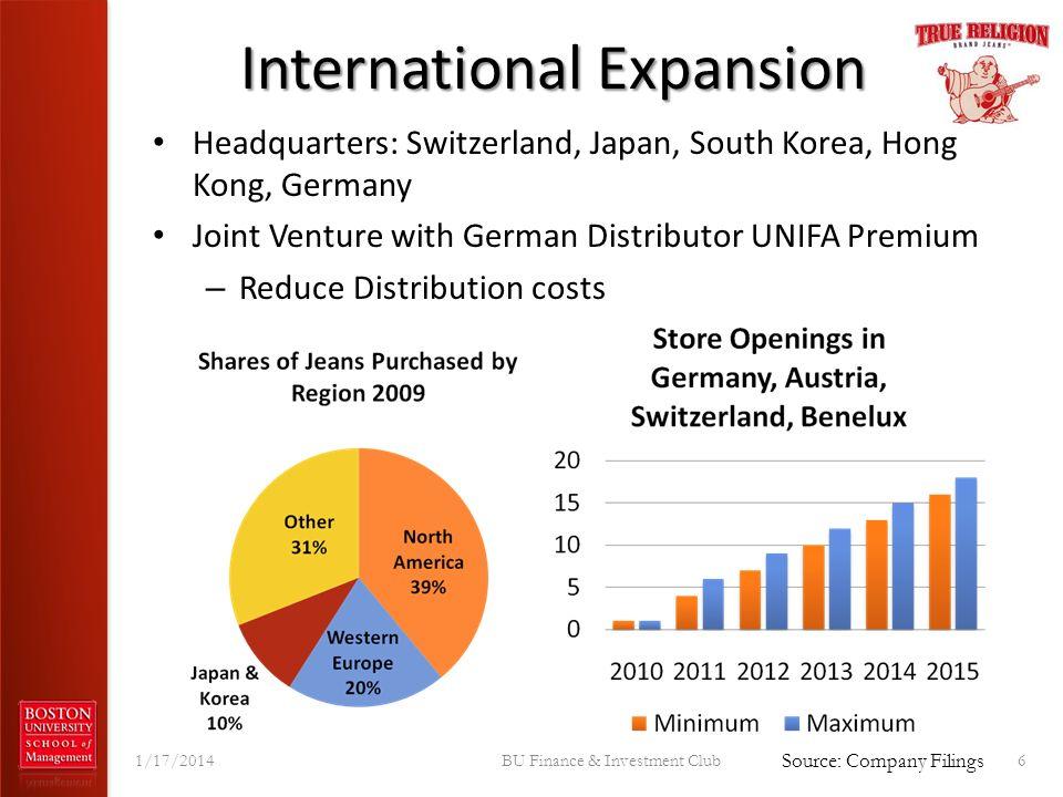 International Expansion Headquarters: Switzerland, Japan, South Korea, Hong Kong, Germany Joint Venture with German Distributor UNIFA Premium – Reduce