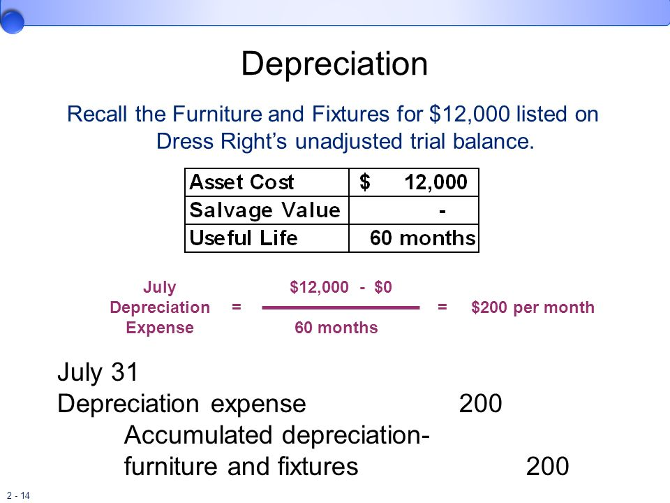 2 - 14 July Depreciation Expense = $12,000 - $0 60 months =$200 per month Recall the Furniture and Fixtures for $12,000 listed on Dress Rights unadjus