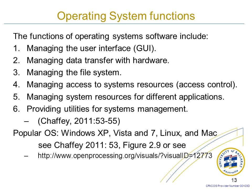 CRICOS Provider Number 00103D 12 Types of System Software Figure 2.8 Different categories of systems software (Chaffey 2005:72)