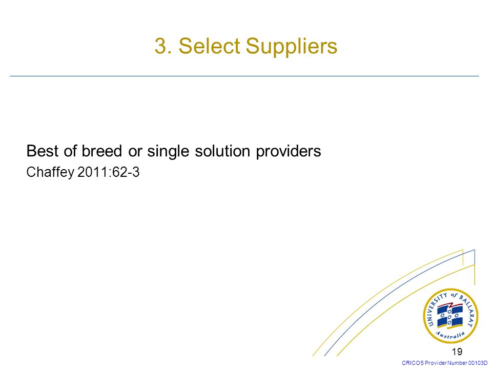 CRICOS Provider Number 00103D 18 Software acquisition methodAdvantagesDisadvantages 1.