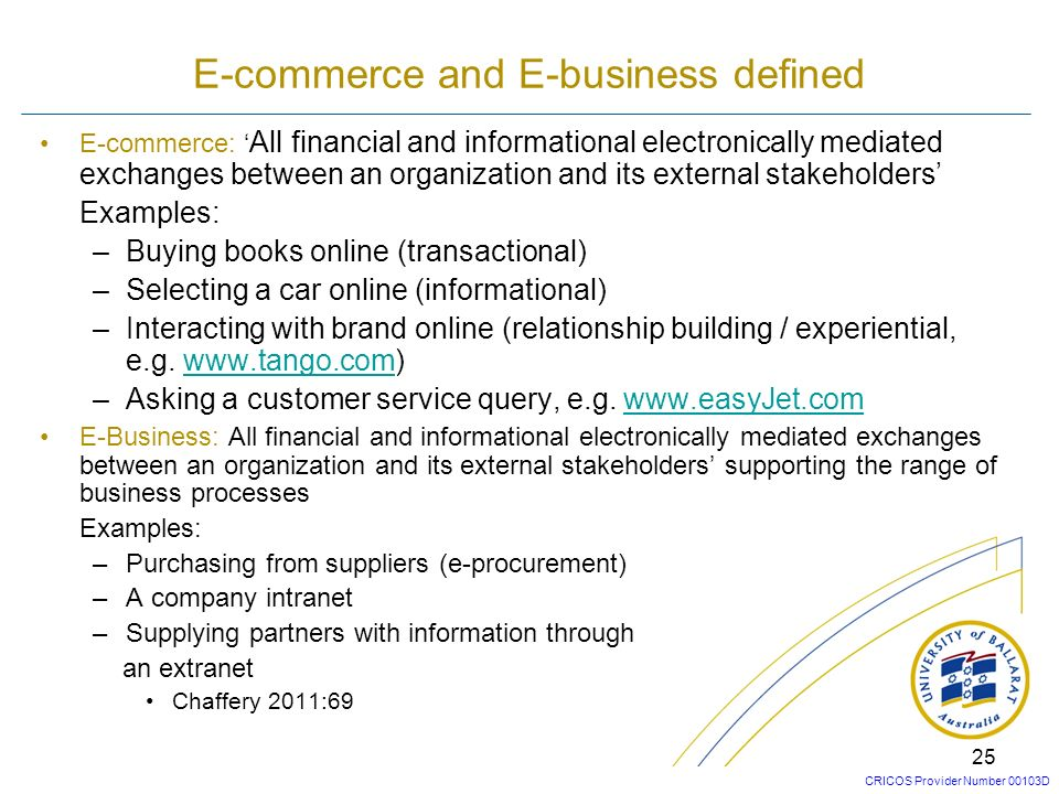 CRICOS Provider Number 00103D 24 You are asked to distinguish between E-commerce and E-business at a job interview. Write down your definitions. Use e