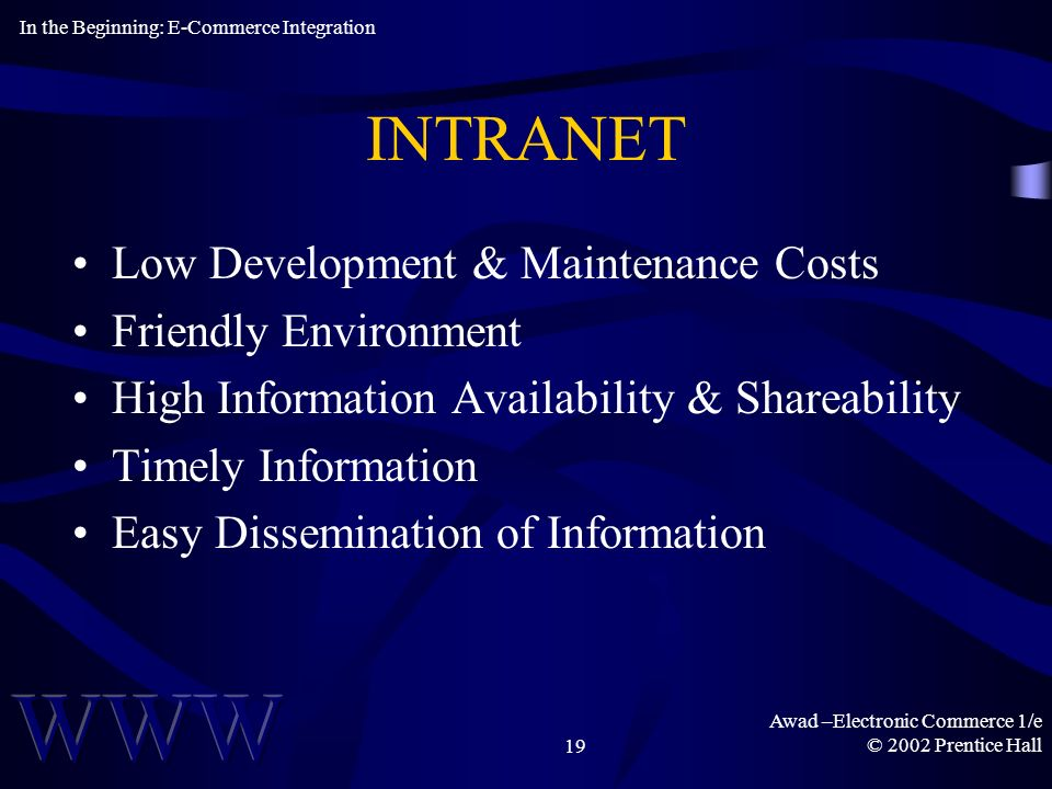 Awad –Electronic Commerce 1/e © 2002 Prentice Hall19 INTRANET Low Development & Maintenance Costs Friendly Environment High Information Availability & Shareability Timely Information Easy Dissemination of Information In the Beginning: E-Commerce Integration