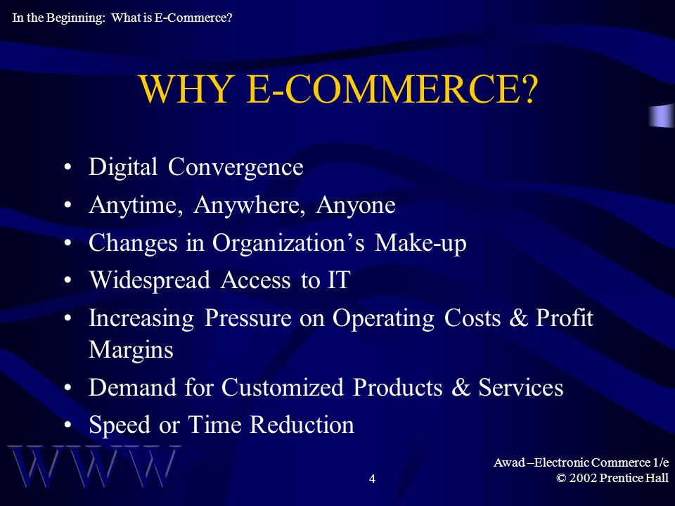 Awad –Electronic Commerce 1/e © 2002 Prentice Hall4 WHY E-COMMERCE.