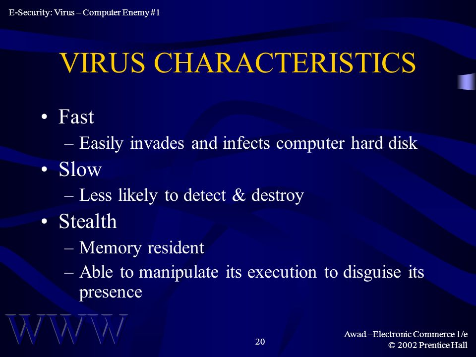 Awad –Electronic Commerce 1/e © 2002 Prentice Hall 20 VIRUS CHARACTERISTICS Fast –Easily invades and infects computer hard disk Slow –Less likely to detect & destroy Stealth –Memory resident –Able to manipulate its execution to disguise its presence E-Security: Virus – Computer Enemy #1