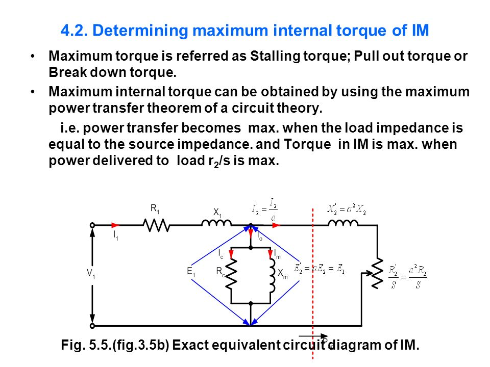 4.2. Determining maximum internal torque of IM Maximum torque is referred as Stalling torque; Pull out torque or Break down torque. Maximum internal t