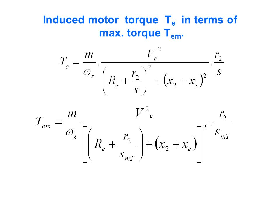 Induced motor torque T e in terms of max. torque T em.