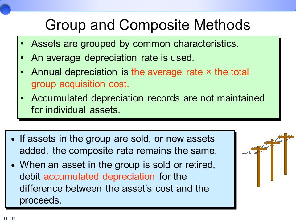 11 - 19 Group and Composite Methods Assets are grouped by common characteristics. An average depreciation rate is used. Annual depreciation is the ave
