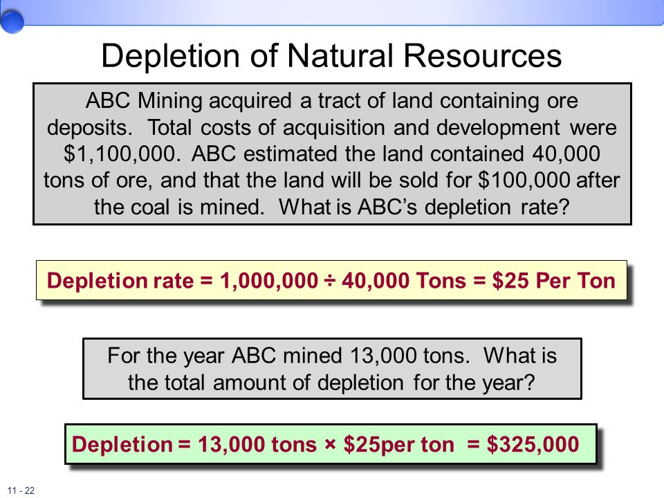 11 - 22 ABC Mining acquired a tract of land containing ore deposits. Total costs of acquisition and development were $1,100,000. ABC estimated the lan