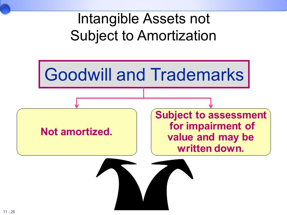 11 - 26 Not amortized. Subject to assessment for impairment of value and may be written down. Goodwill and Trademarks Intangible Assets not Subject to