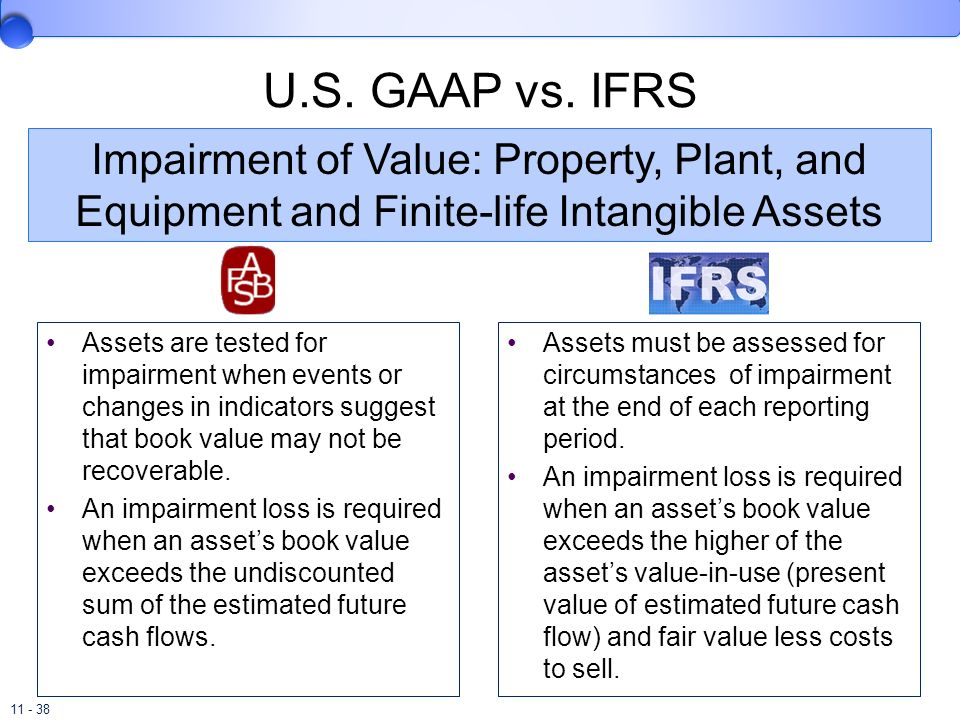 11 - 38 U.S. GAAP vs. IFRS Assets are tested for impairment when events or changes in indicators suggest that book value may not be recoverable. An im