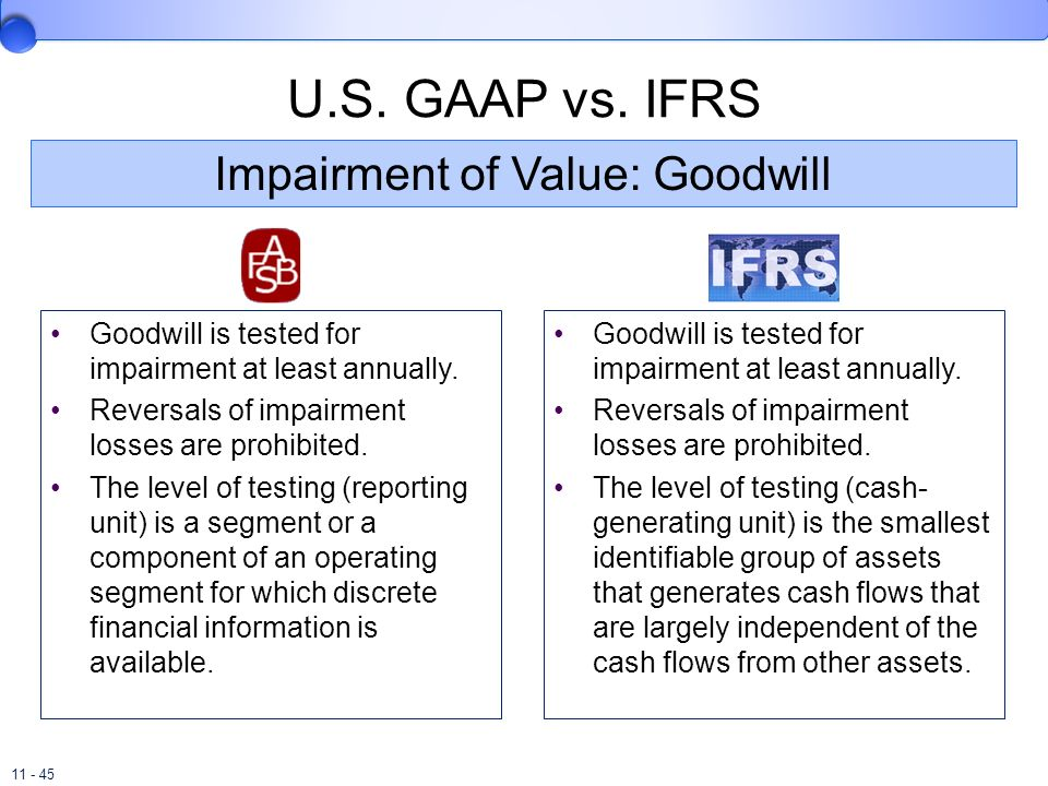 11 - 45 U.S. GAAP vs. IFRS Goodwill is tested for impairment at least annually. Reversals of impairment losses are prohibited. The level of testing (r