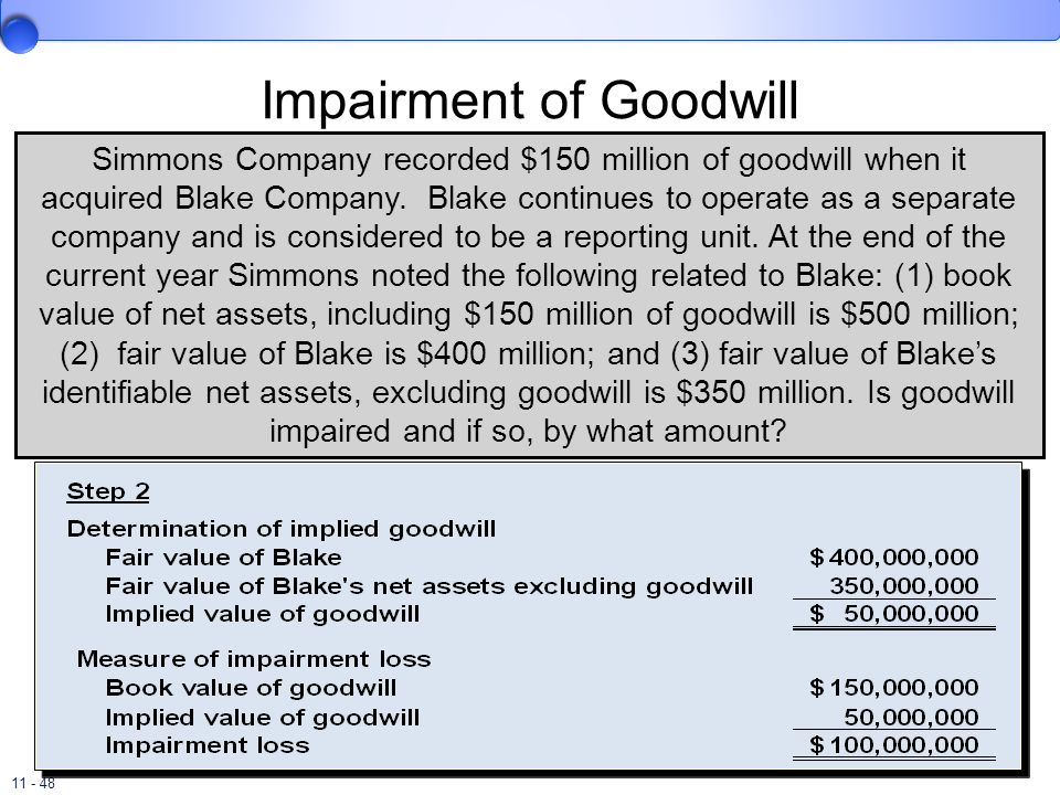 11 - 48 Impairment of Goodwill Simmons Company recorded $150 million of goodwill when it acquired Blake Company. Blake continues to operate as a separ