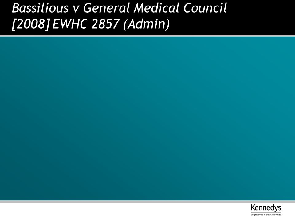 Bassilious v General Medical Council [2008] EWHC 2857 (Admin)