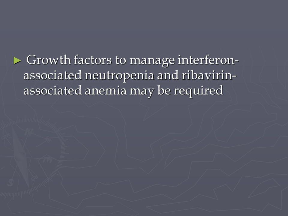 Growth factors to manage interferon- associated neutropenia and ribavirin- associated anemia may be required Growth factors to manage interferon- asso