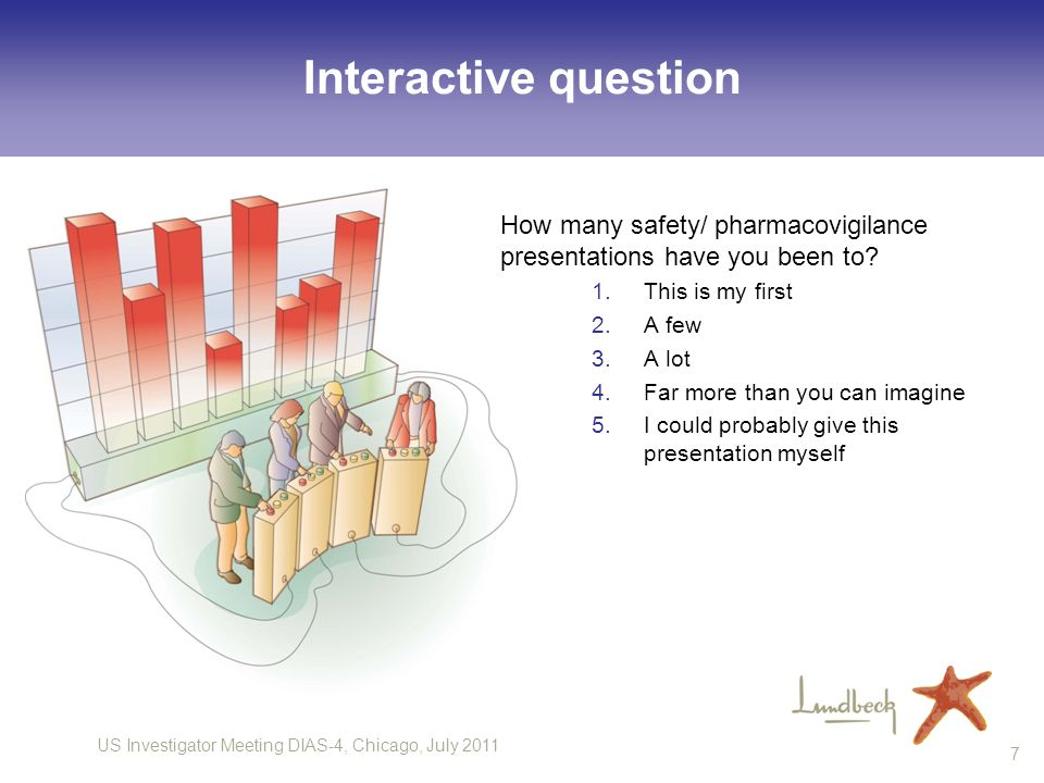 US Investigator Meeting DIAS-4, Chicago, July 2011 7 Interactive question How many safety/ pharmacovigilance presentations have you been to? 1.This is