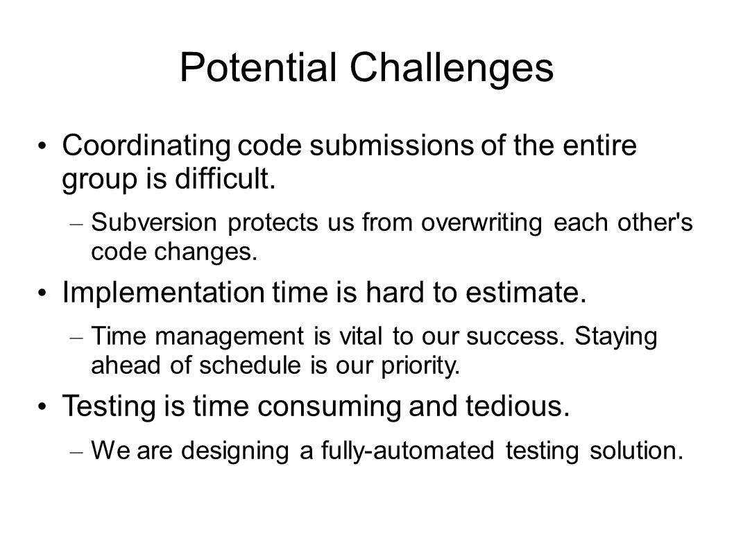 Potential Challenges Coordinating code submissions of the entire group is difficult.