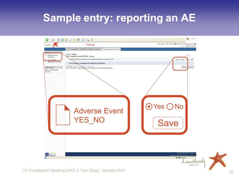 US Investigator Meeting DIAS-4, San Diego, January 2011 33 Sample entry: reporting an AE
