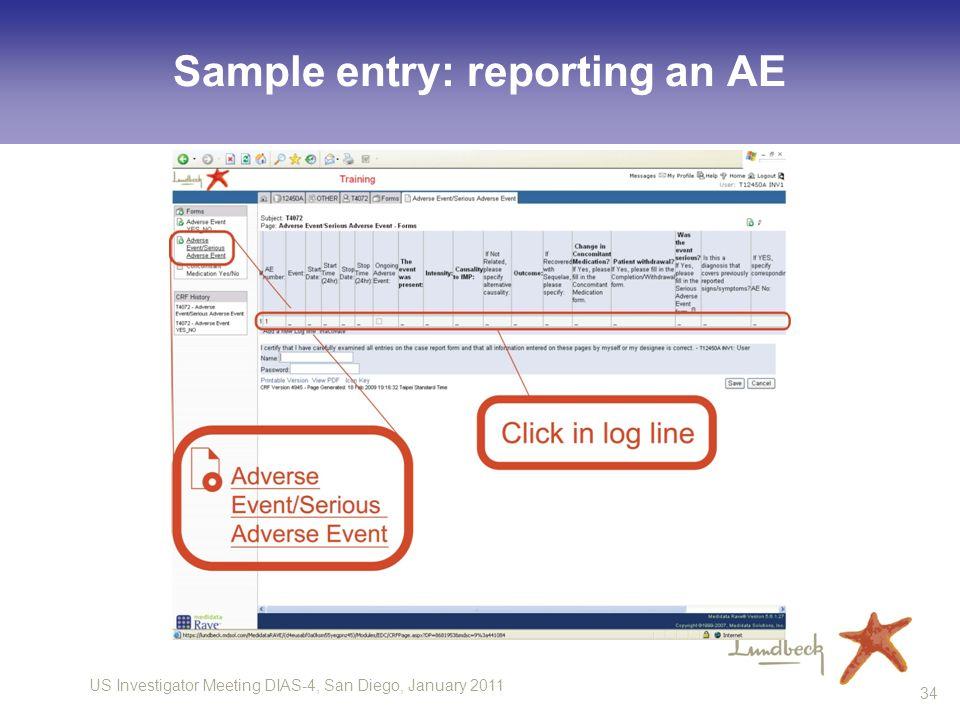 US Investigator Meeting DIAS-4, San Diego, January 2011 34 Sample entry: reporting an AE