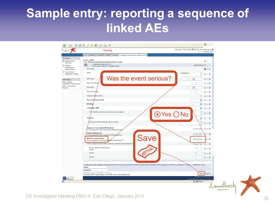 US Investigator Meeting DIAS-4, San Diego, January 2011 39 Sample entry: reporting a sequence of linked AEs