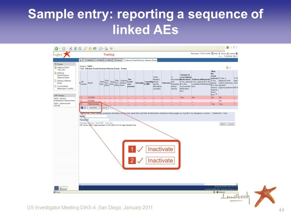 US Investigator Meeting DIAS-4, San Diego, January 2011 44 Sample entry: reporting a sequence of linked AEs
