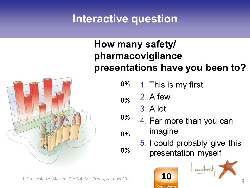 US Investigator Meeting DIAS-4, San Diego, January 2011 8 How many safety/ pharmacovigilance presentations have you been to.