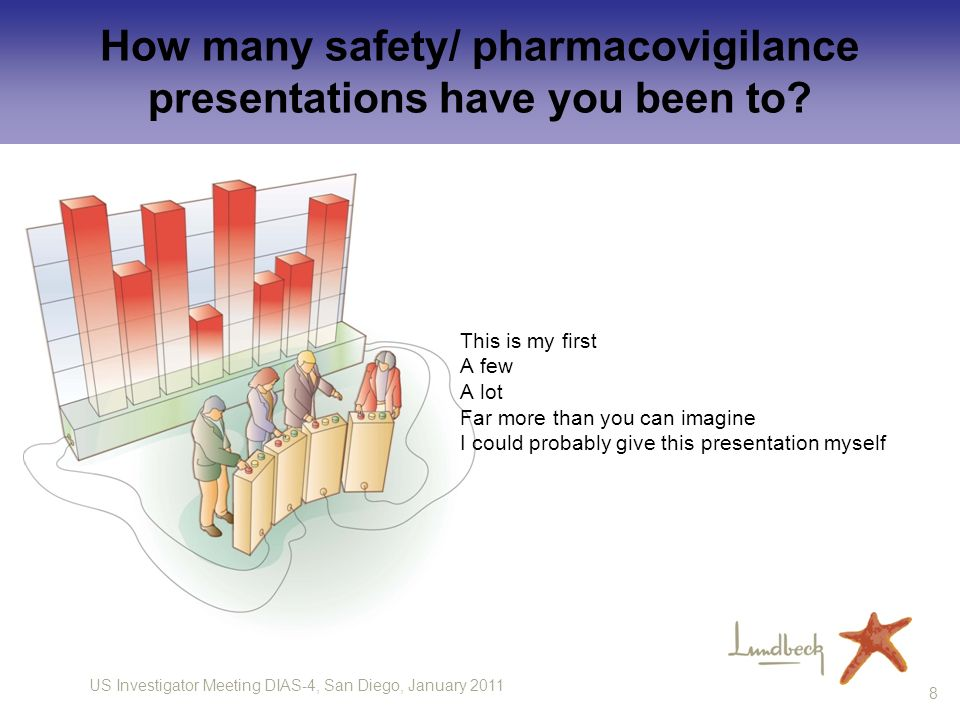 US Investigator Meeting DIAS-4, San Diego, January 2011 8 How many safety/ pharmacovigilance presentations have you been to? This is my first A few A