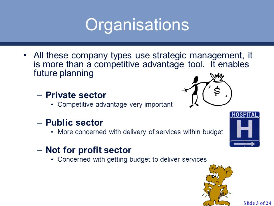 Slide 3 of 24 Organisations All these company types use strategic management, it is more than a competitive advantage tool.