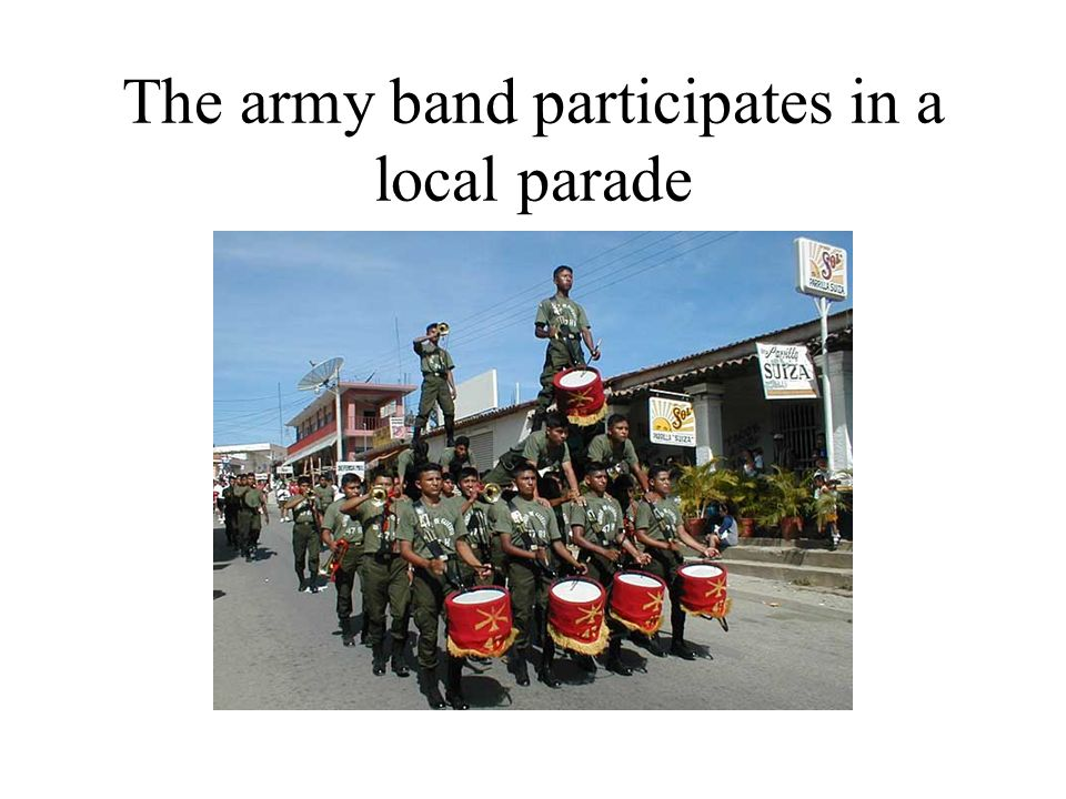 The army band participates in a local parade