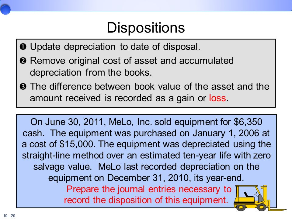 10 - 20 Dispositions Update depreciation to date of disposal. Remove original cost of asset and accumulated depreciation from the books. The differenc