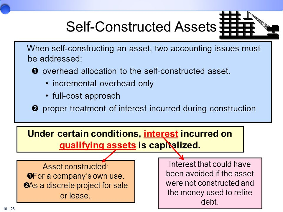 10 - 28 Self-Constructed Assets When self-constructing an asset, two accounting issues must be addressed: overhead allocation to the self-constructed