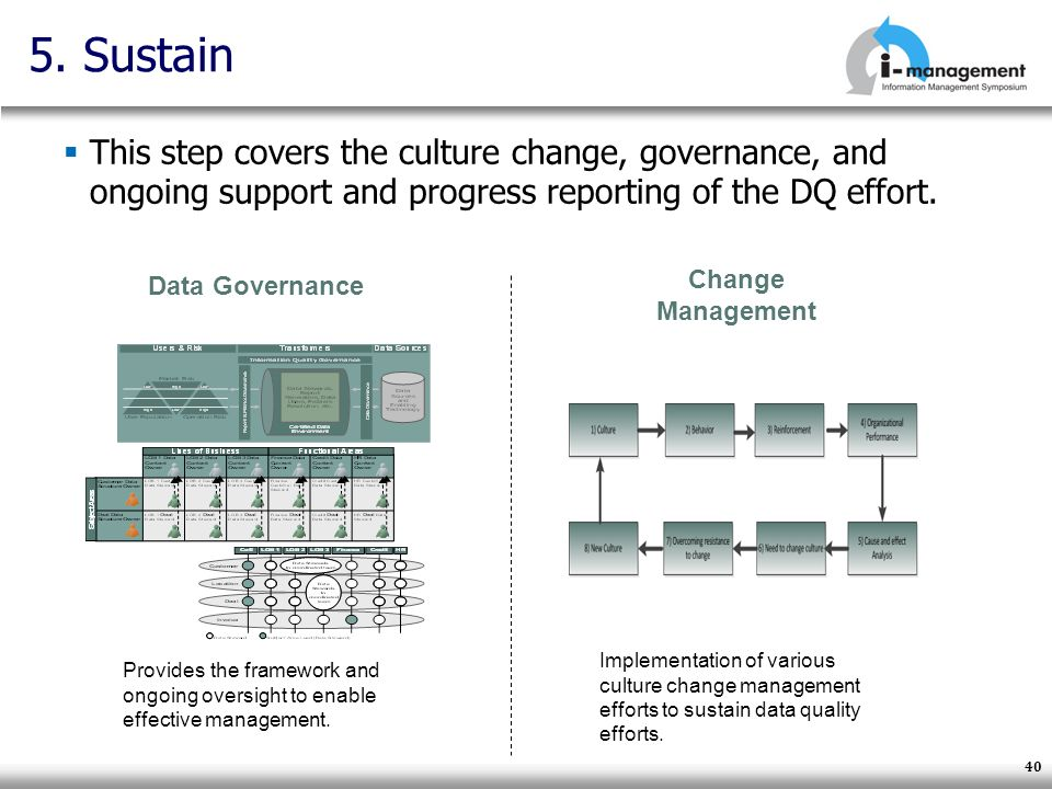 40 5. Sustain This step covers the culture change, governance, and ongoing support and progress reporting of the DQ effort. Data Governance Provides t