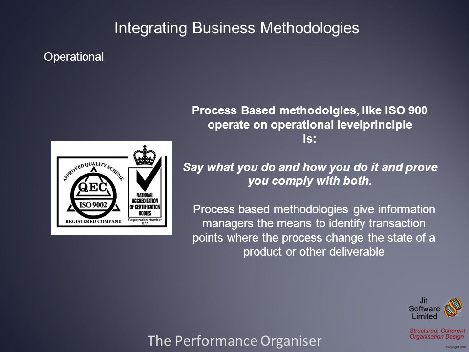The Performance Organiser Integrating Business Methodologies Process Based methodolgies, like ISO 900 operate on operational levelprinciple is: Say what you do and how you do it and prove you comply with both.