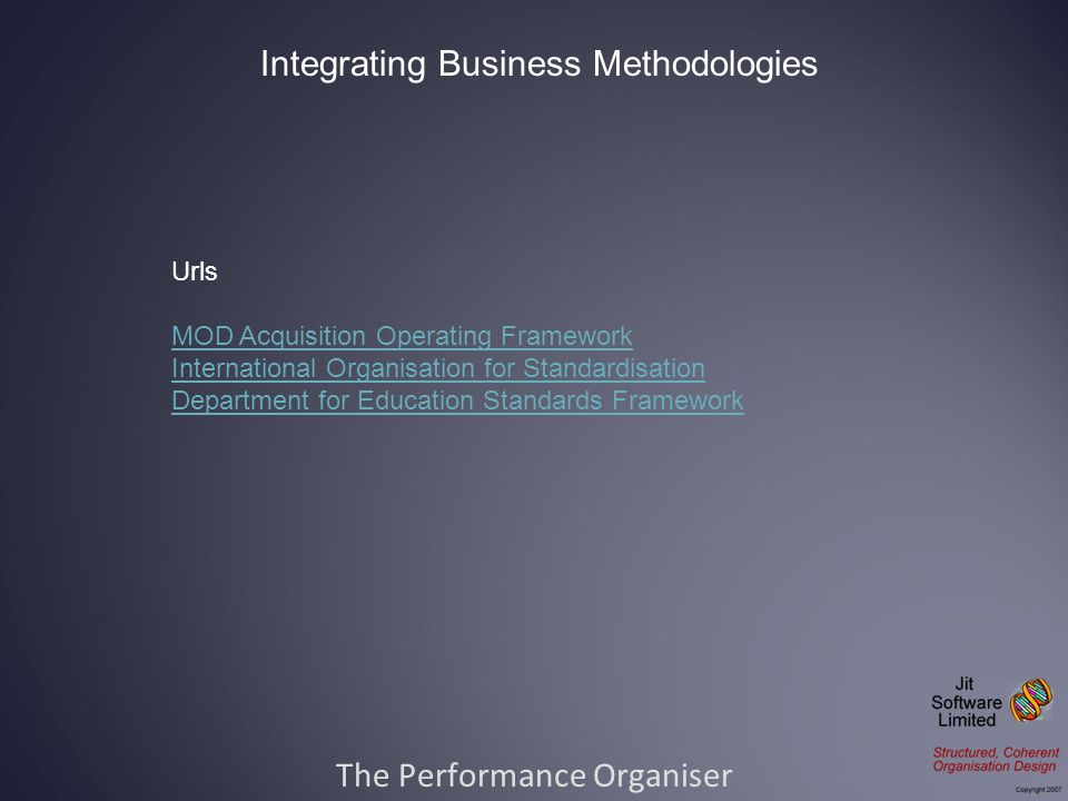 The Performance Organiser Integrating Business Methodologies Urls MOD Acquisition Operating Framework International Organisation for Standardisation Department for Education Standards Framework
