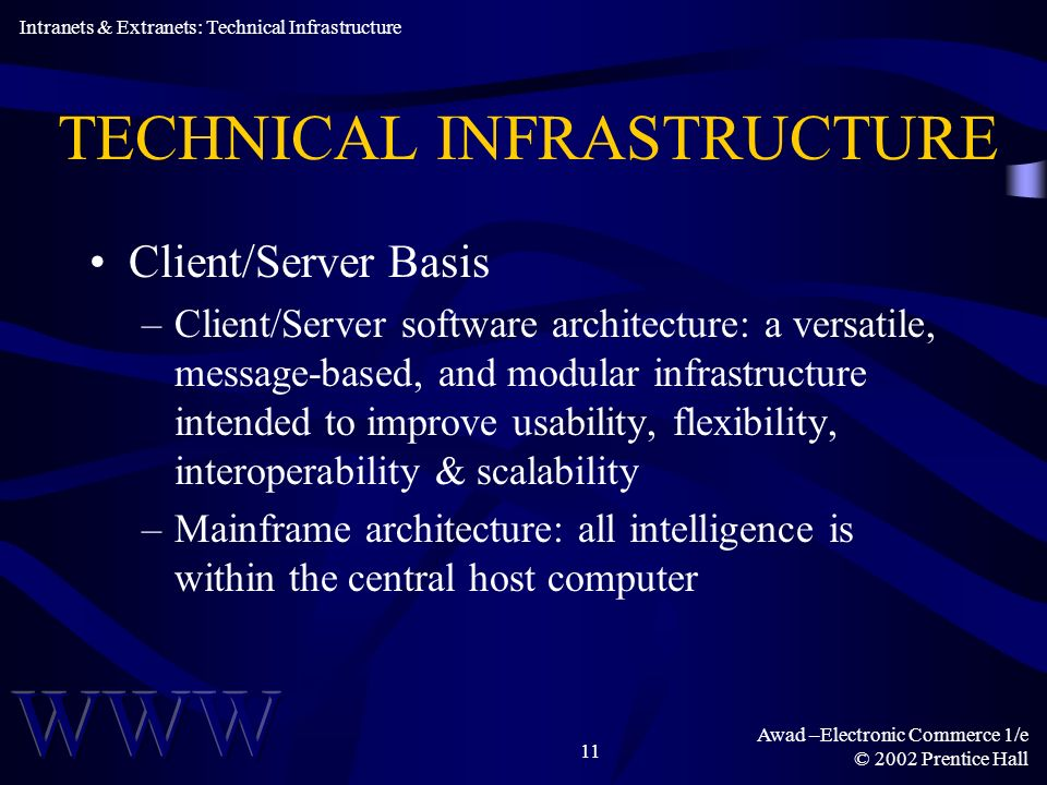 Awad –Electronic Commerce 1/e © 2002 Prentice Hall 11 TECHNICAL INFRASTRUCTURE Client/Server Basis –Client/Server software architecture: a versatile, message-based, and modular infrastructure intended to improve usability, flexibility, interoperability & scalability –Mainframe architecture: all intelligence is within the central host computer Intranets & Extranets: Technical Infrastructure