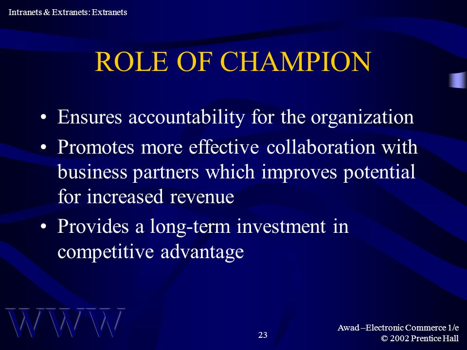 Awad –Electronic Commerce 1/e © 2002 Prentice Hall 23 ROLE OF CHAMPION Ensures accountability for the organization Promotes more effective collaboration with business partners which improves potential for increased revenue Provides a long-term investment in competitive advantage Intranets & Extranets: Extranets