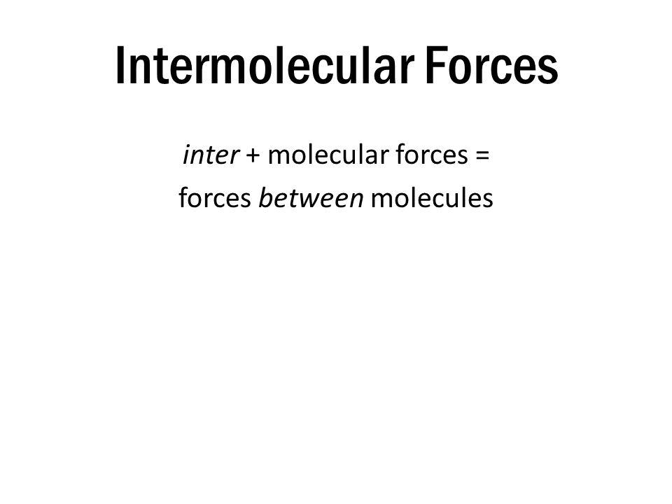 Intermolecular Forces inter + molecular forces = forces between molecules Intermolecular forces are attractions between molecules.