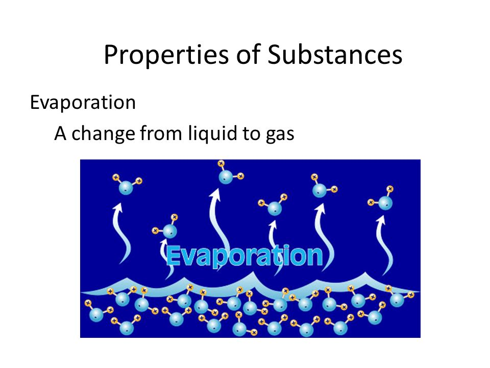 Evaporation A change from liquid to gas Properties of Substances