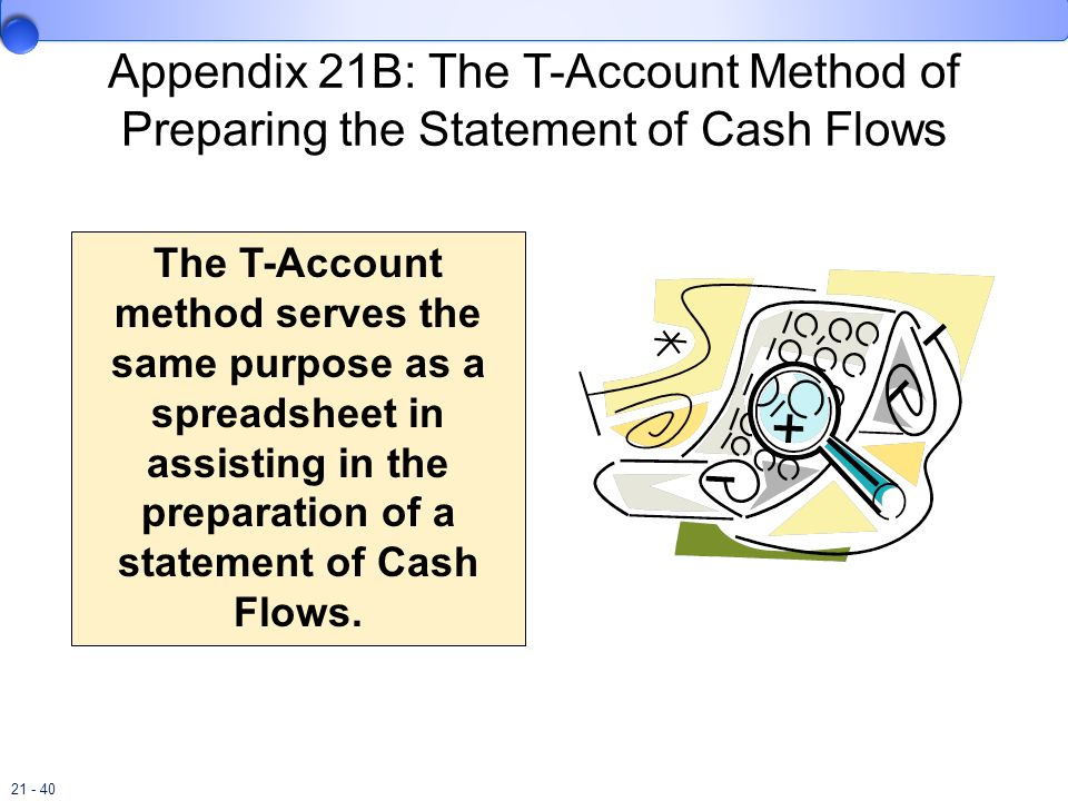 21 - 40 Appendix 21B: The T-Account Method of Preparing the Statement of Cash Flows The T-Account method serves the same purpose as a spreadsheet in a