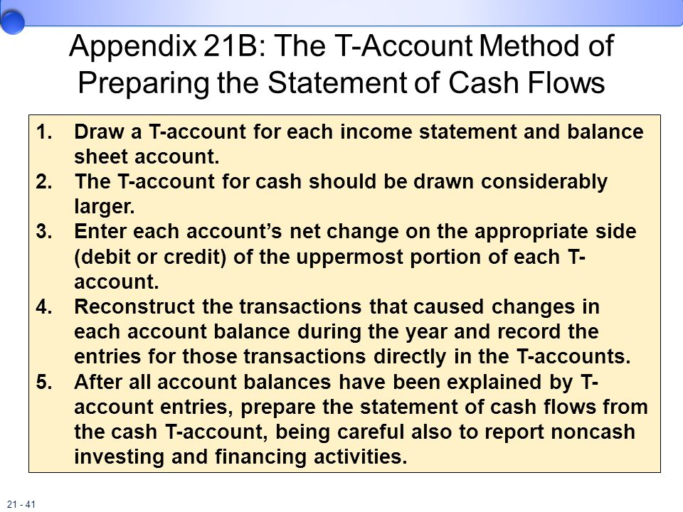 21 - 41 Appendix 21B: The T-Account Method of Preparing the Statement of Cash Flows 1.Draw a T-account for each income statement and balance sheet acc