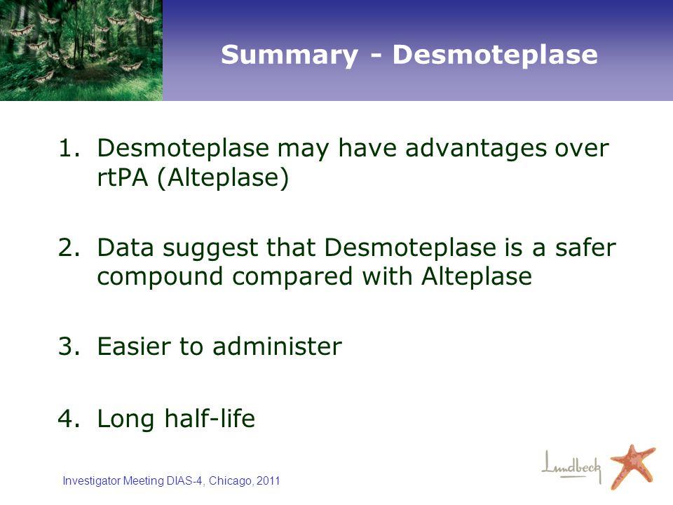 Investigator Meeting DIAS-4, Chicago, 2011 Summary - Desmoteplase 1.Desmoteplase may have advantages over rtPA (Alteplase) 2.Data suggest that Desmote